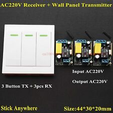 AC 220V 3 Way Channel Remote Control Switch + Wall Panel Wall Transmitter Remote