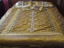 GOLD SILK INDIAN EMBROIDERED MIRROR WORK KING BEDSPREAD AND PILLOWCASES/SHAMS