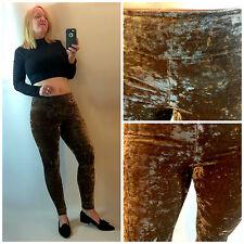 Forever 21 Mocha Beige Crushed Velvet High Waist Stretch Leggings Pants Size XS