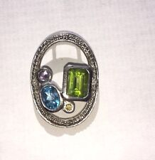 Sterling Silver Peridot and Swiss Blue Topaz pendant
