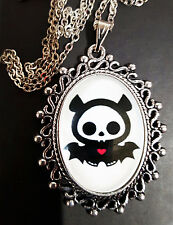 Skelanimals Diego Antique Silver Pendant Necklace Goth Steampunk Bat