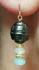 14k solid gold black baroque Tahitian pearl Ethiopian fire Opal dangle earrings