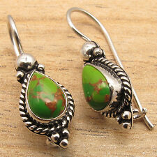 GREEN COPPER TURQUOISE Gems Ethnic Jewelry Designer Earrings ! 925 Silver Plated