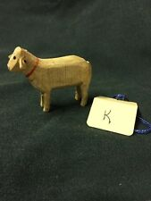 Vintage Tiny Wood carved Standing German Miniature Christmas Sheep  ~ Antique K