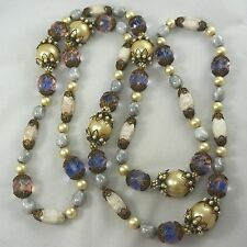 """Vintage Saphiret Pink & Blue Art Glass Fancy Pearl Bead Necklace HASKELL? 46"""""""