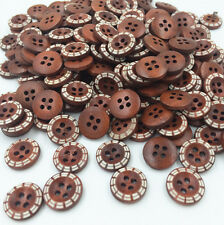 DIY 100pcs Wooden Buttons Sewing 4 Holes Round  Dia 13mm Clothing accessories