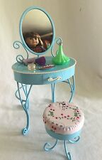 American Girl Doll Blue Curlicue Vanity w/ Mirror Stool & Accessories