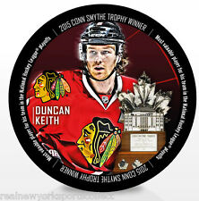 DUNCAN KEITH CHICAGO BLACKHAWKS CONN SMYTHE TROPHY PUCK STANLEY CUP CHAMPIONS