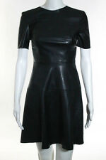 Zara Woman Black Faux Leather Short Sleeve A Line Dress Size Extra Small