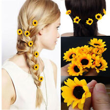 10Pcs Yellow Sunflower Hair Pins Hair Clips Wedding Bridal Prom Brooch Fashion