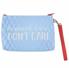Mermaid Hair Dont Care Slogan Zip Blue MakeUp Cosmetic Bag Coin Purse Girls Gift