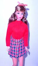 Vintage Mod 1971 Barbie Stacey Super Scarf Red Top + Mini Skirt Mint
