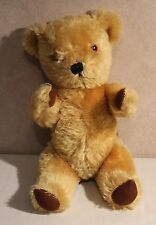 """VNT British Teddy Bear Bell in Right Ear Dean's Childsplay Toy Ltd 12"""" Jointed"""