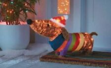Lighted Dachshund Weiner Dog w/Santa Hat & Sweater Tinsel Christmas Decor (New)