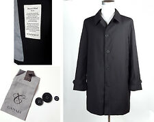 RECENT Canali 1934 Loro Piana Storm System Wool Overcoat Sz 48 Button Up Black
