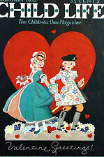 Valentines Day Child Life Cover 1932 SWEET SHY CHILDREN Boy Girl Print Matted
