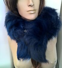 dark royal blue genuine real fox tail fur collar scarf neck warmer shawl stole