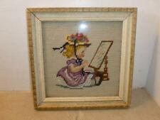 "Vintage Victorian Girl Mirror Needlepoint Petit Point Wood 8.5"" Frame"