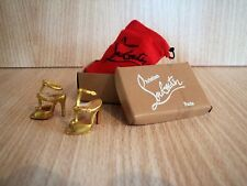 Barbie size Christian Louboutin Gold Sandals with Shoe Box and Red Dust Bag