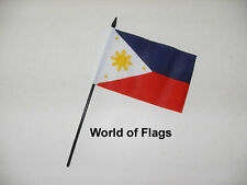 """PHILIPPINES SMALL HAND WAVING FLAG 6"""" x 4"""" Asia Craft Table Desk Display"""