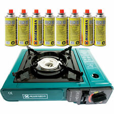 Camping Gas Stove with 8 Butane Gas Refill Cans Camp Cooker Fire Portable