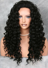 HEAT SAFE Thick Wavy Curls Lace Front Wig Long Jet Black sh 1