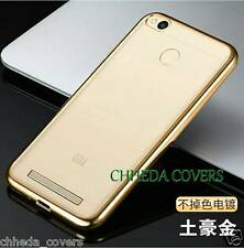 Transparent Soft Back Cover with Gold Chrome EP Boarder For REDMI 3S PRIME
