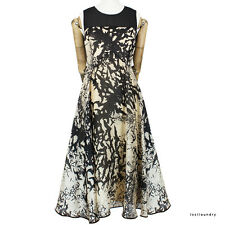 Giles Deacon Black Taupe Flying Bat Silk Flared Skater Skirt Dress IT40 UK8