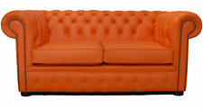 Chesterfield Original 2 Seater Flamenco Orange Leather Sofa Settee