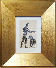 1940 JON CORBINO , N.A. male nude CIRCUS HORSE and PERFORMER framed INK DRAWING