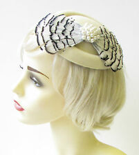Black White Cream Ivory Feather Pillbox Hat Fascinator Hair Races Vintage 1402