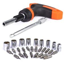 32 Piece T-Handle Ratcheting Screwdriver Set with Bits, Socket and Extension Bar