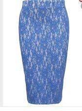 River Island Navy Blue Lace Skirt Bodycon Stretch Midi Milli size 6 BNWT New
