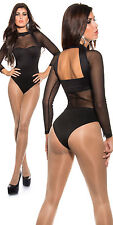 Sexy MISS Body top shirt transparent dos outcut manches longues 34/36/38 Noir NEUF