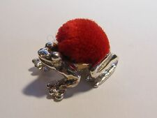 ADORABLE STERLING SILVER FROG PIN CUSHION - NEW