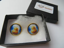 Cute Yellow Rubber Duck in the Moon Cameo Earrings - C045 Rockabilly Sailor