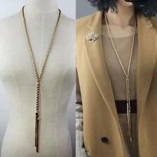Vintage Lady Women Gold Tone Tassel Pendant Choker Long Sweater Chain Necklace