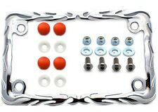 Chrome Flame Motorcycle License Plate  Frame Kit Stainless Screws & Red Caps