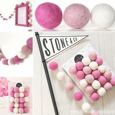Stone and Co Felt Ball Pom Pom Garland 20 x 2.5cm pretty pinks