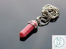 Rhodonite Crystal Point Pendant Natural Gemstone Necklace Healing Stone Chakra