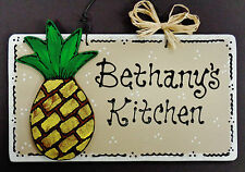 PINEAPPLE Personalized Name KITCHEN SIGN Decor TROPICAL Wall Hanger Plaque