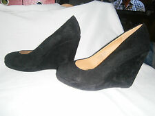 NEW SZ 7 'EMERGE' BLACK SUEDE WEDGE SHOES
