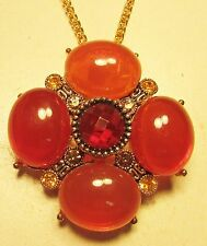 Vintage 70's Plastic Lucite Glass Crystal Rhinestone Pendant Necklace Pin