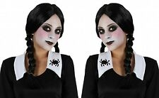 NEW FANCY DRESS COSTUME WOMENS BLACK PLAITS PONYTAIL HALLOWEEN WIG HORROR OUTFIT