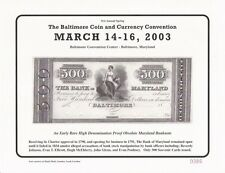 2003 Baltimore Coin Conv. Souvenir Card - $500.00 The Bank of Maryland - BLT14