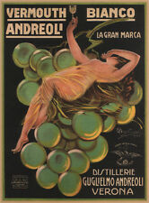 VERMOUTH BIANCO ANDREOLI, 1921 Vintage Liquor Advertising CANVAS PRINT 24x31 in.