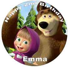 Masha And The Bear Personalised Cake Topper Edible Wafer Paper 7.5""