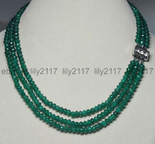 """AA 3Rows Natural 4X6mm Faceted Green Emerald Rondelle Beads Necklaces 17-19"""""""
