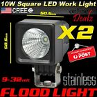 2x 10W LED FLOOD BEAM T6 CREE WORK LIGHT 4X4 BACKUP REVERSE 4WD 9-32V DRIVING 12