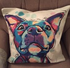 Multicoloured Staffy Dog / Staffordshire Bull Terrier Dog Cushion Cover